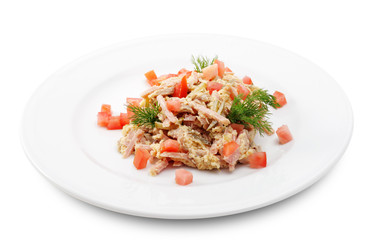 Salad Comprises Chopped Smoked Chicken and Champignon