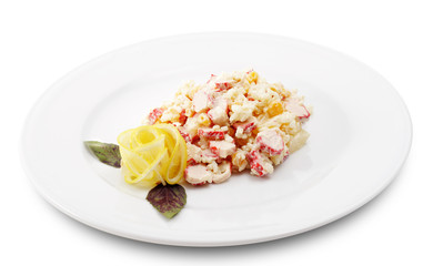 Salad Comprises Crab Meat, Rice, Pineapple and Corn