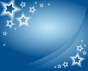 Blue christmas background / card with stars