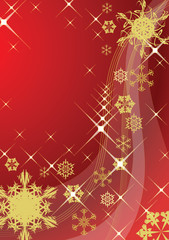 Abstract christmas background with various golden snowflakes