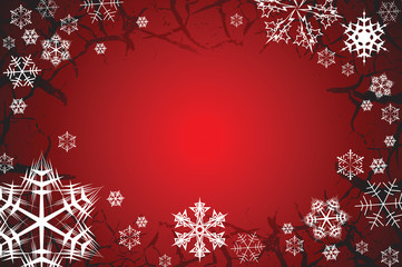 Snowflakes on a red grunge background