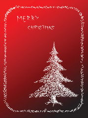 Hand drawn christmas tree on a red background