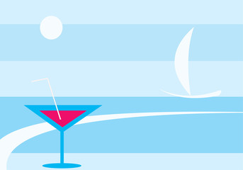 vector image of summer sea and martini