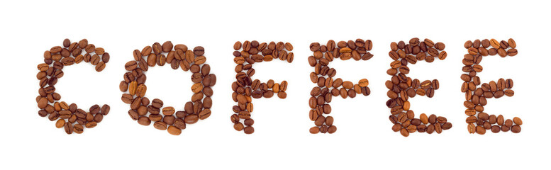 Wall Murals Coffee beans Word Coffee isolated on white background