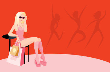 vector image of fashion sitting woman