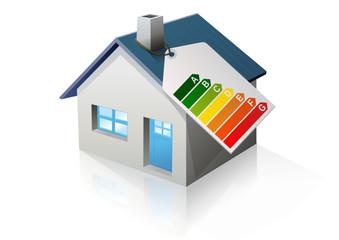 Maison et étiquette énergie (reflet)