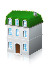 Immeuble ancien et toiture végétale (reflet)