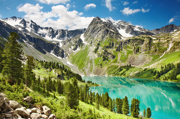 Fototapete - Beautiful turquoise lake in Altai mountains