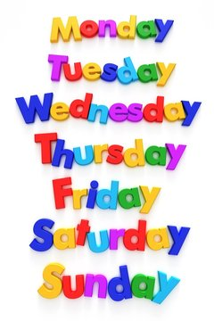 Days of the week formed with letter magnets
