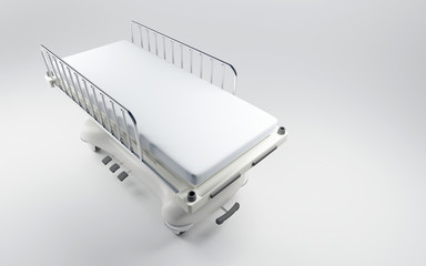 3D rendering of a hospital bed with a neutral background