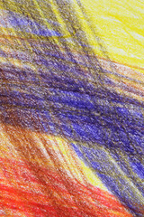 Abstract multi-coloured crayon drawing background.
