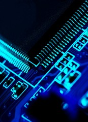 Electronical circuit, technology background in blue