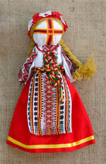 The Ukrainian national doll in traditional clothes