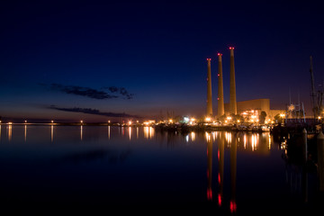 Night shot of the Dynergy power plant in Morrow bay.