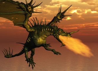 3D render of a fire-breathing dragon flying at sunset.