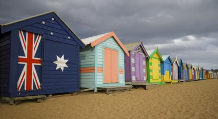 Beach bath huts in a row