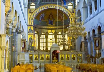 Greek orthodox church interior, Saint Dimitrios of Thessaloniki