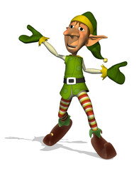 3D render of a happy, dancing Santa's elf.