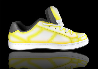 yellow-white sneaker on a black background