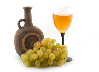 grapes and bottle fault on white background