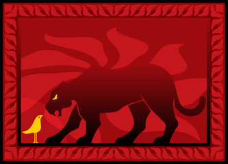 Bird and panther silhouettes on decorative background