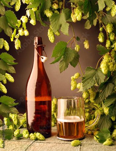 Retro Beer With Natural Hops Decoration Stock Photo And Royalty
