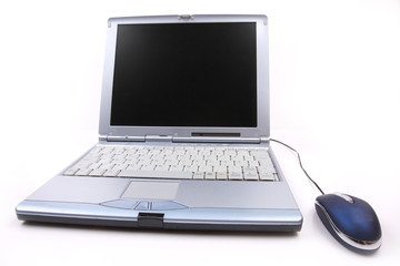 silver laptop with a blue mouse