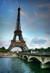 Eiffel tower and Seine river. HDR image.