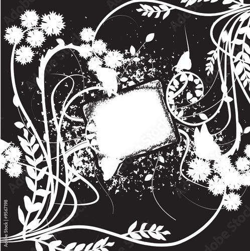 Cadre floral noir et blanc arabesques fichier vectoriel libre de droits sur la banque d 39 images for Cadre noir et blanc