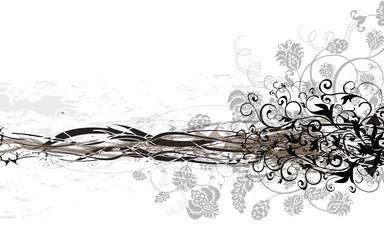 bandeau floral  noir et blanc