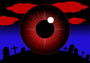 big red halloween eye