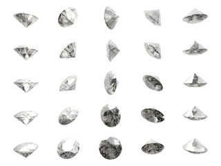 Many isolated brilliant cut diamonds on white background
