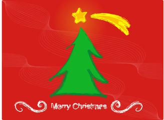 sfondo rosso astratto con albero natalizio