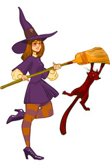 Vector Witch with Cat and Broom