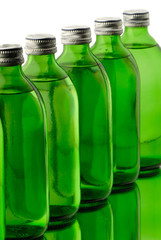 bottle o green color with mineral water isolated