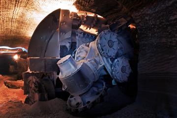 heading machine in a salt mine (underground mining)