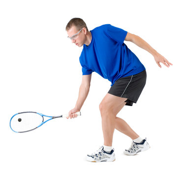 Squash player hitting forehand isolated on white background