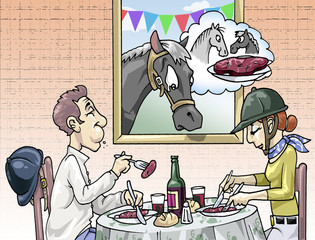 Papiers peints Comics A couple of horse-riders eating horse meat