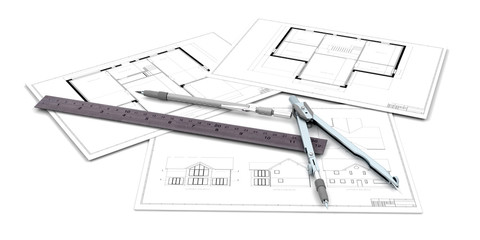 Architectural drawings with pen and ruler