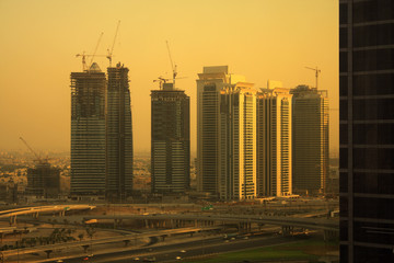 buildings on sheikh zayed road, dubai, united arab emirates