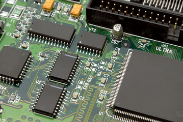 Printed-circuit-board with computer chips resistors condensers