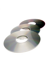 Three compact discs on white