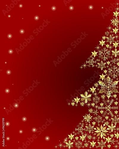 goldener weihnachtsbaum auf rotem hintergrund stockfotos. Black Bedroom Furniture Sets. Home Design Ideas