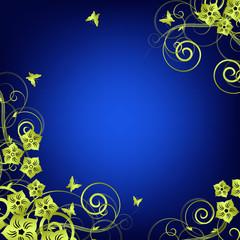 Flower vintage background Vector   Blue and gold