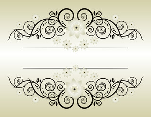 Vintage frame  Elegant  Beige Symmetric inward