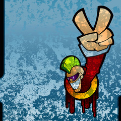 Grunge graffiti illustration with a guy with victory sign.
