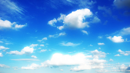 Clouds on beautiful bright blue horizon. Cloudscape.