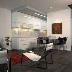 Contemporary minimalist flat with open-plan kitchen