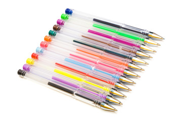 Color ballpoint pens on a white background