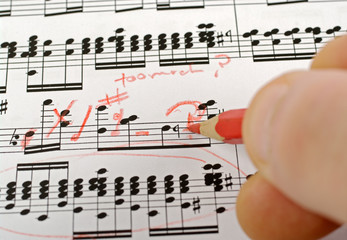 music notes composition on paper being written or marked